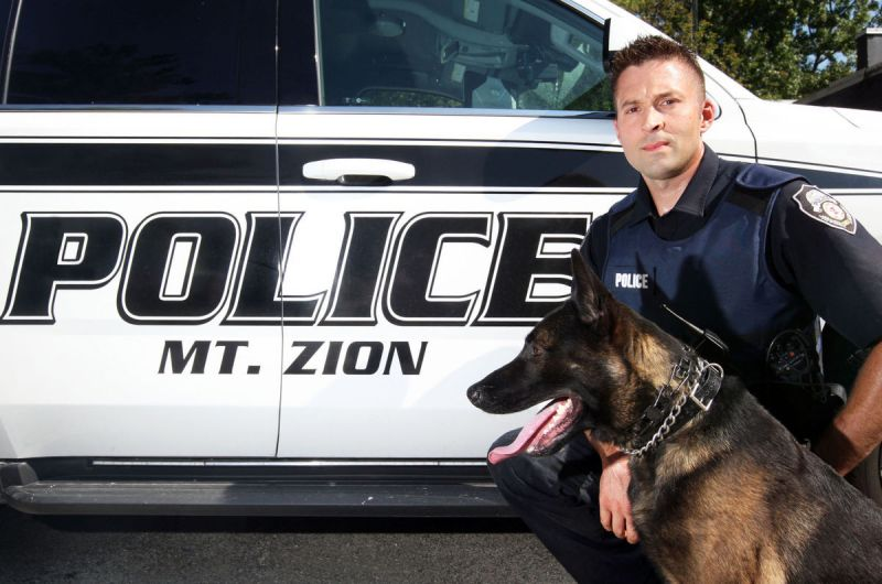 Officer McLean and K-9 Officer Saudo